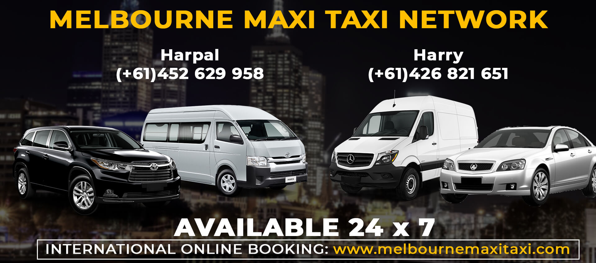 international booking banner for Melbourne Maxi Taxi Network